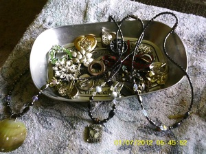 Some of my silver colored jewelry- Some is actually silver, some pewter, some antique, vintage. Necklaces are magnetic.