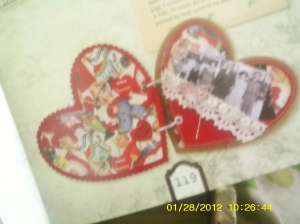 Heart embellishments in craft book.